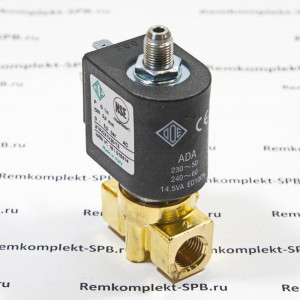 """3-х ходовой электромагнитный клапан L321D08C ODE, катушка ZA34A 230V 50Гц 14VA, корпус латунный OT57 ø 1/4, конический слив ø 1/8"""", форсунка  ø 3,2 мм"""